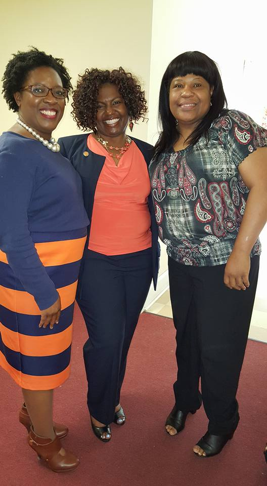 SSU alumna Rozelle Slaymon, Cassaundra Huntley andAllison Holder